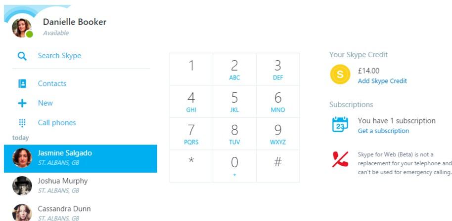 Улучшения веб-версии Skype